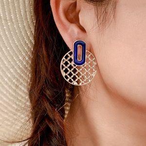 Jewelry - Gold Lattice Stud Earrings w/Blue Enamel